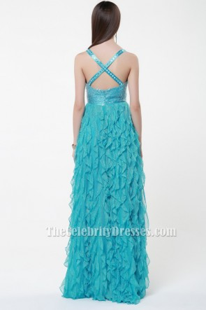 Sexy Backless Beaded Ruffles Prom Gown Evening Dresses TCDBF040