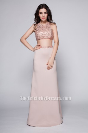 Sexy Backless Two Pieces Evening Party Dresses