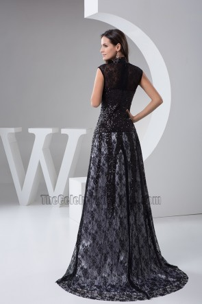 Sexy Black High Neck Formal Gown Evening Prom Dresses