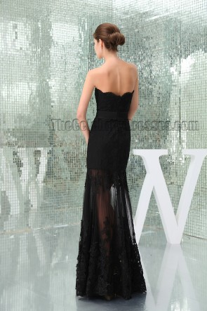 Sexy Black Strapless See Through Prom Gown Evening Dress