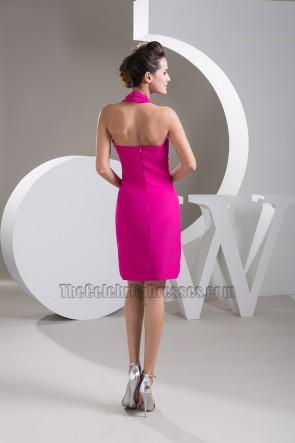 Sexy Fuchsia Chiffon Halter Short Party Cocktail Dresses