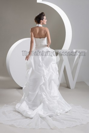 Sexy Halter A-Line High Low Sweep/Brush Train Wedding Dresses