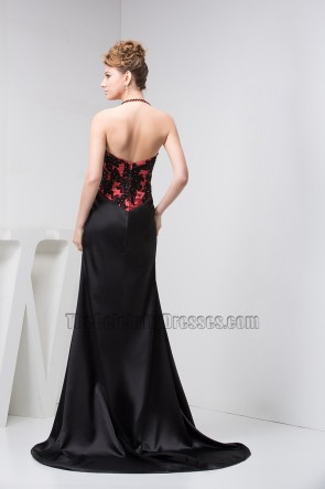 Sexy Halter Black Embroidered Evening Gown Prom Dresses