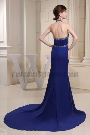 Sexy Halter Royal Blue Mermaid Evening Dress Prom Gowns With Beading