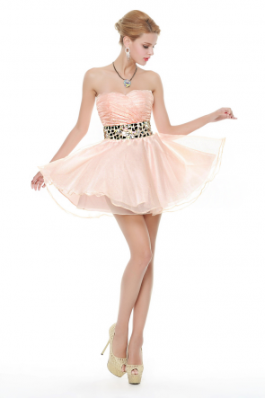 Sexy Mini Beaded Strapless Sweetheart A-Line Party Dresses