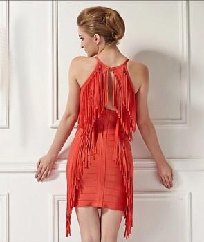 Sexy Orange Red Mini Bandage Party Dress With Tassel TCD5908