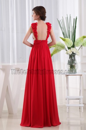 Sexy Red Deep V-neck Backless Evening Dress Prom Gown