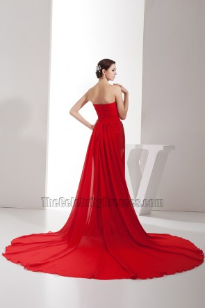 Sexy Red Strapless Sweetheart Chiffon Prom Gown Evening Dress