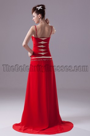 Sexy Red V-neck Evening Gown Prom Formal Dresses