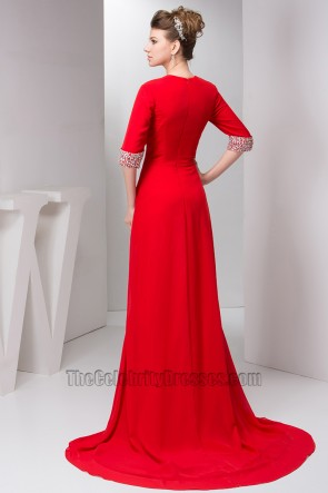 Sexy Red V-Neck Beaded Formal Dress Evening Gowns