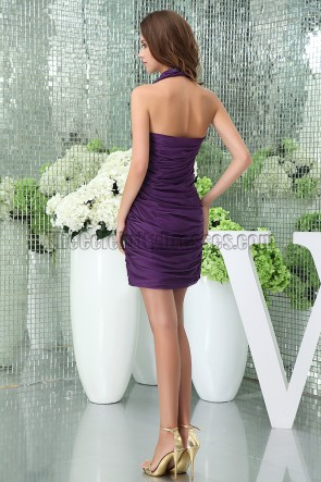 Sexy Short Mini Purple Halter Party Cocktail Dresses