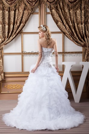 Sexy Strapless Beaded Organza Wedding Dress Bridal Gown
