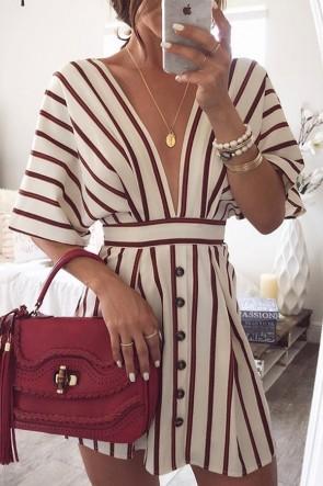 Sexy V-neck Striped Button Dress