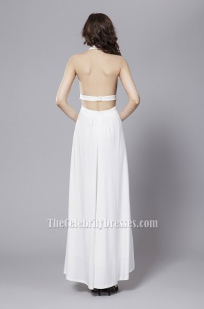 Sexy White Backless Halter Prom Gown Evening Dresses TCDBF054