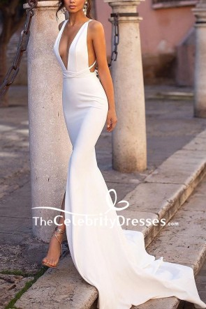 Sexy White Deep V-neck Slit Prom Dress