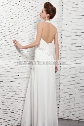 Sexy White Halter Open Back Evening Dress Prom Gown