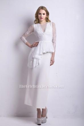 Sexy White High Slit Long Sleeve Formal Evening Dresses