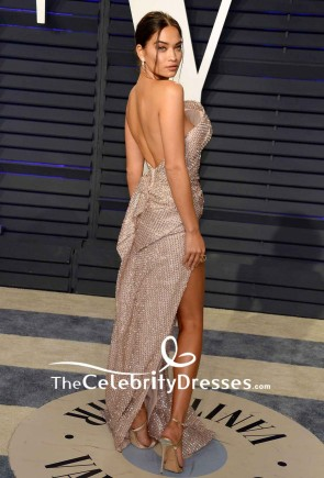 Shanina Shaik Sequined Strapless Thigh-high Slit Formal Dress 2019 Vanity Fair Oscar party TCD8332