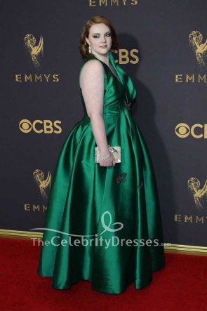 Shannon Purser Hunter Plus Size Taffeta Ball Gown 2017 Emmy Awards Red Carpet TCD7536