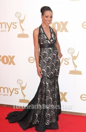 Shaun Robinson Black Lace Prom Dress 63rd Primetime Emmys Red Carpet