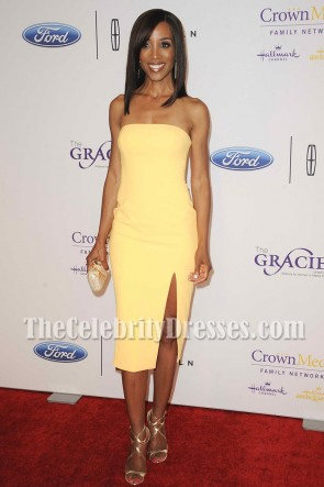 Shaun Robinson Yellow Strapless Party Dress 41st Annual Gracies Awards Gala TCD7008