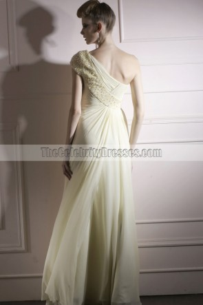 Sheath/Column Ivory One Shoulder Beaded Evening Prom Gowns