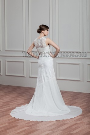 Sheath/Column Lace Sleeveless Wedding Dresses