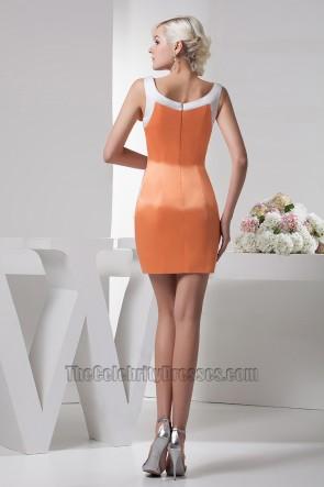 Sheath/ Column Orange Party Homecoming Graduation Dress