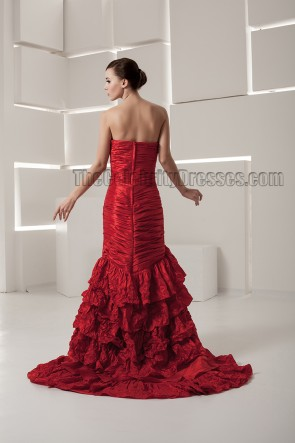 Sheath\Column Red Strapless Sweep/Brush Train Wedding Dresses