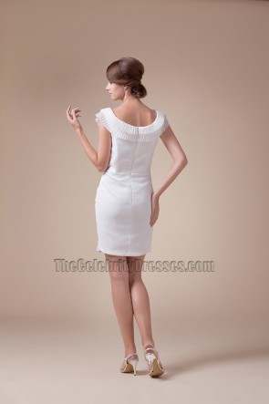 Sheath /Column Ruffles White Party Cocktail Graduation Dresses