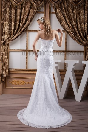 Sheath/Column Strapless Sweethart Beaded Lace Wedding Dress