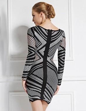Sheath Long Sleeve Short Party Dress Bandage Cocktail Dresses TCD5905