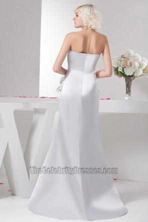 Sheath/Column Silver Strapless Bridesmaid Prom Evening Dresses