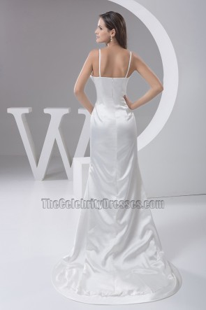 Sheath/Column Spaghetti Straps Sweep/Brush Train Wedding Dress