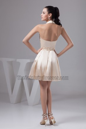 Short Champagne Halter Graduation Party Homecoming Dresses