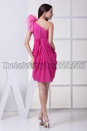 Short Fuchsia One Shoulder Party Cocktail Dresses