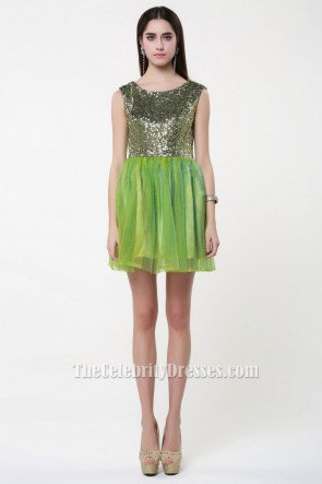 Short Mini Green Sleeveless Party Homecoming Dresses TCDBF024
