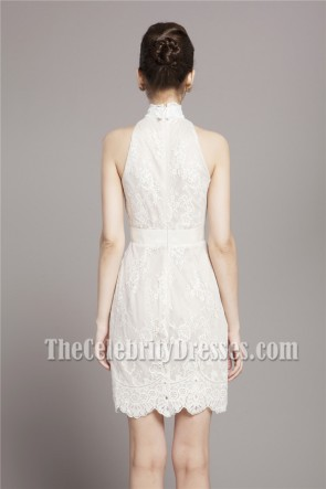 Short/Mini Ivory Lace High Neck Cocktail Party Dresses