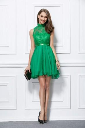 Short Mini Sleeveless Green A-Line Party Homecoming Dresses TCDBF298