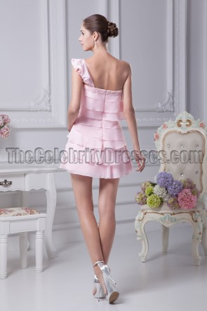 Short Pink One Shoulder Party Homecoming Dresses