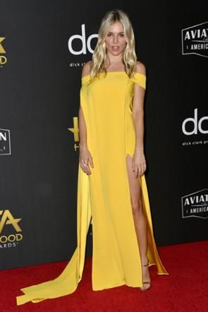 Sienna Miller Yellow Off Shoulder Dress 2019 Hollywood Film Awards