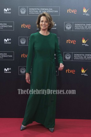 Sigourney Weaver Green Long Sleeves Evening Dress 64th San Sebastian International Film Festival