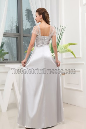 Silver Cap Sleeves Evening Gowns Prom Bridesmaid Dresses
