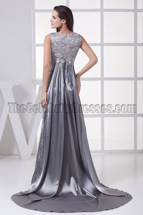Silver Lace Evening Prom Gown Formal Pageant Dresses