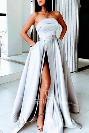 Silver Strapless High Split Formal Gown Long Dress
