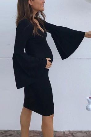 Simple Black Bell sleeves V-neck Short Plus Size Maternity Dress