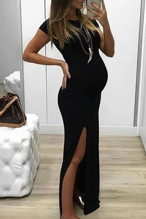 Simple Black Side Slit Scoop Maternity Dress (1)