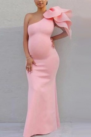 Simple One Shoulder Short Sleeve Maternity Dress