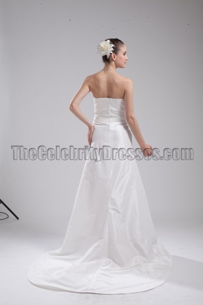 Simple Strapless A-Line Taffeta Wedding Dress