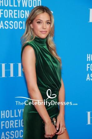Sistine Stallone Dark Green Slit Evening Dress 2019 HFPA Grants Banquet TCD8616